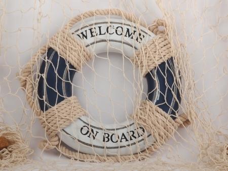 safe belt and fishing net on white background       Stock Photo