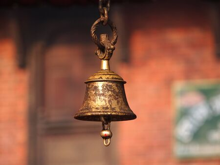 bronze bell in temple in Nepal      photo
