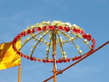 flower umbrela on holly ceremony in Varanasi         photo