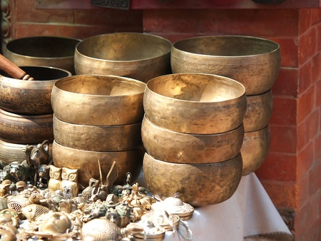 Singing Bowls  Cup of life  - popular mass product souvenier in Nepal, Tibet and India Stock Photo - 18958955