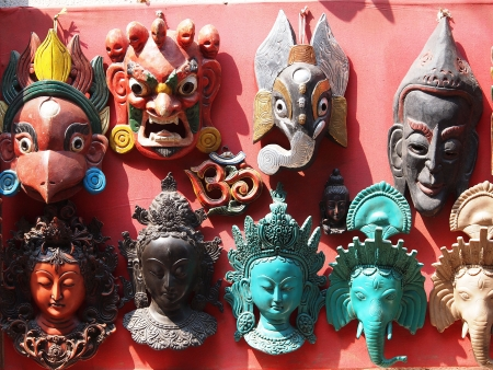 Nepali masks on display in the markets of Bhaktapur, Nepal        Stock Photo