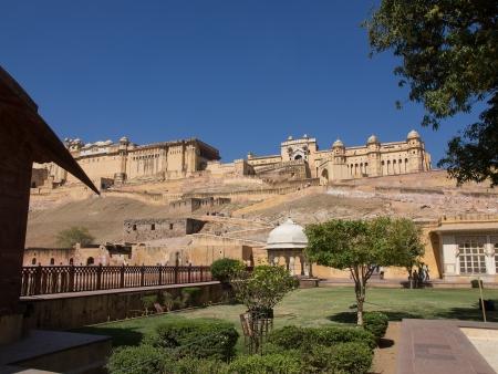 Mooie Amber Fort de buurt van Jaipur stad in Rajastan, India