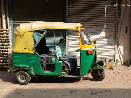 auto rickshaw: rickshaw taxi in New delhi ,India             Stock Photo