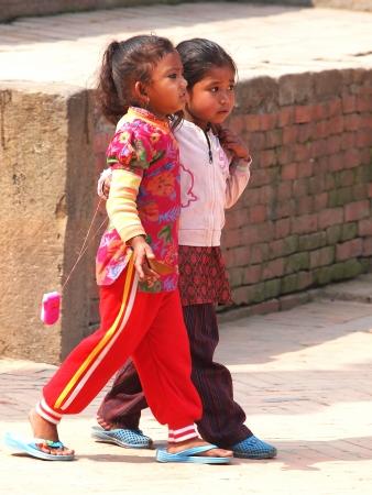 kids on the street of Kathmandu Nepal