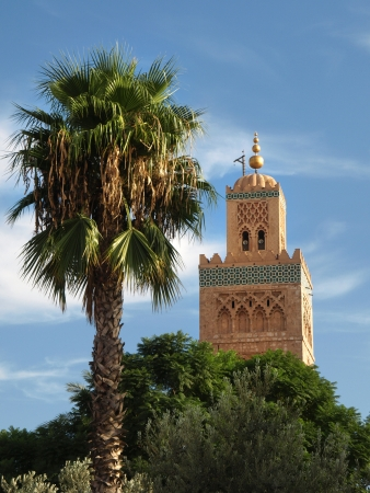Koutoubia Mosque - the biggest mosque in Marrakech, Morocco, Africa Stock Photo