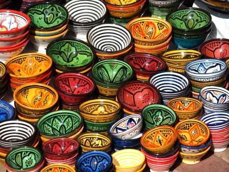 clay pots on the streets of Marrakesh       Stock Photo