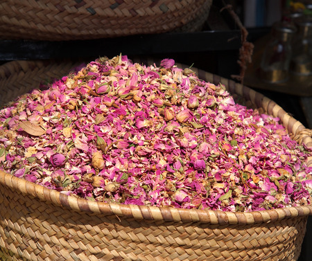 dried herbs flowers (rose) in the Marrakesh street shop