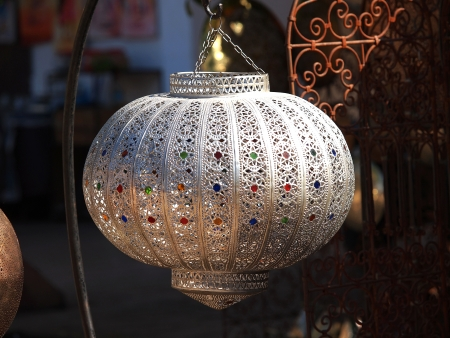 Moroccan glass and metal lanterns lamp in Marrakesh souq        photo