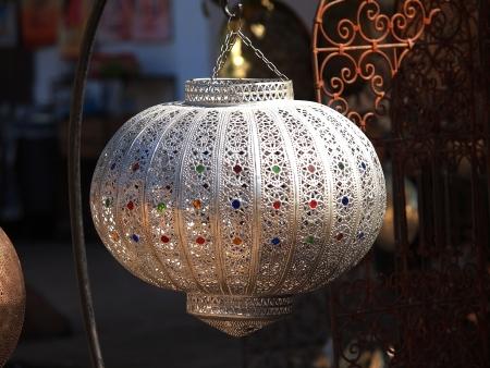 souq: Moroccan glass and metal lanterns lamp in Marrakesh souq