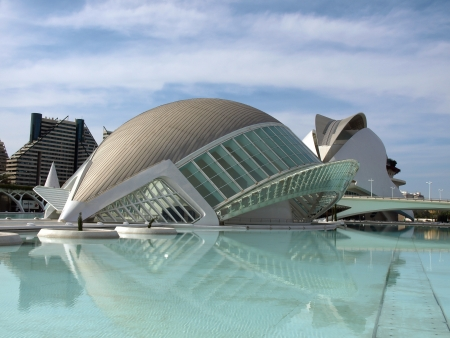 Dome shaped building. Modern european architecture.