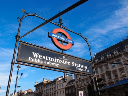 LONDON, ENGLAND JAN 20: Westminster underground station outside the government offices of the Houses of Parliament on jAN 20, 2014 in London, United Kingdom.