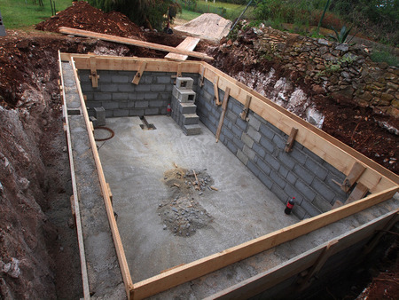 A Swimming Pool under construction        Standard-Bild