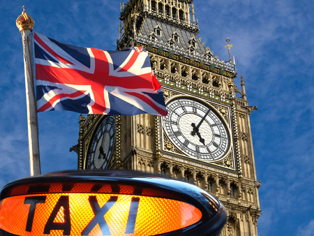 taxi sign ,Union jack flagon pole  and Big Ben