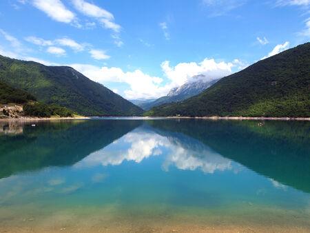 mountainscape: Beautiful view of high blue mountain lake