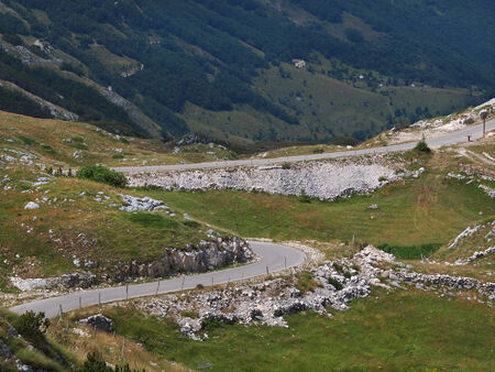 old mountain road with curves Durmitor ,Montenegro         photo
