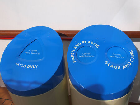 food waste: Big containers for recycling waste sorting - plastic, glass, metal, paper,food