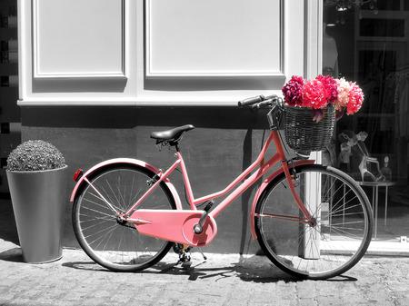 handle bars: Esta cosecha bicicleta ni�as de color rosa tiene hermosas flores de color rosa en una cesta en la parte delantera de la moto