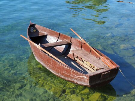 peddle: small old peddle boat on the Ohrid lake Macedonia