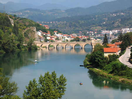 Old Bridge on Drina river in Visegrad - Bosnia and Herzegovina - architecture travel background Stock Photo