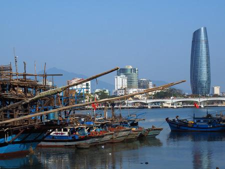 Wooden Fishing Boats Congested At The Fishing Village in Da Nang, February 24, 2015 - Da Nang, South Vietnam Editorial