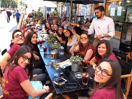 VALENCIA,SPAIN  - JUN 07: Crowd of young people J celebrate end of school in crowd street of Valenciaon Jun 07 2017.  Sajtókép