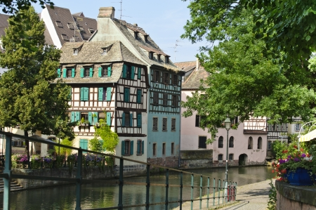 timbered: Old half of colourful timbered houses in Petite France, Strasbourg