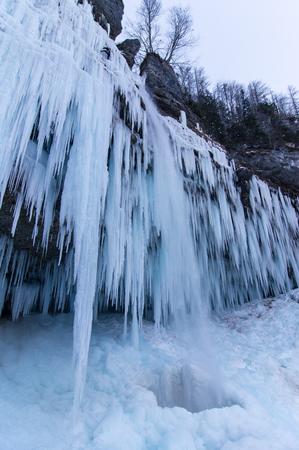 crampon: Scenic frozen waterfall Pericnik in Julian alps, Slovenia