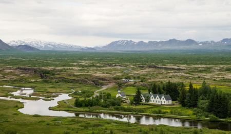 Beautiful landscape of Pingvellier national park in Iceland Stock Photo