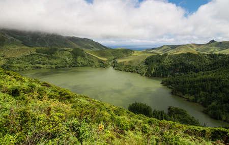 crater lake: Scenic green landscape of Azorean island Stock Photo