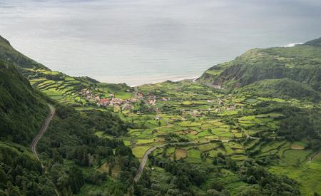portugal agriculture: Scenic green landscape of Azorean island Stock Photo