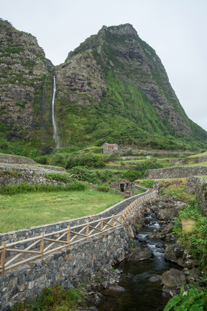 fertile land: Scenic beautiful landscape of Azorean island