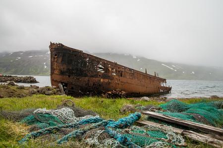 Abandoned ship on a coast of ICeland Stock Photo