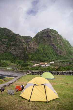 Scenic campground on evergreen portuguese island of Flores in Azores