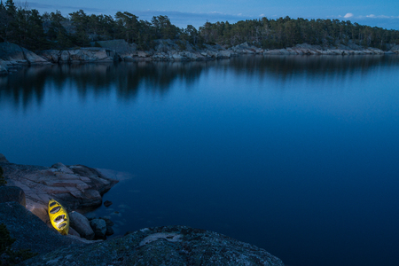 Seakayaking in Stockholm archipelago in Sweden during summer time