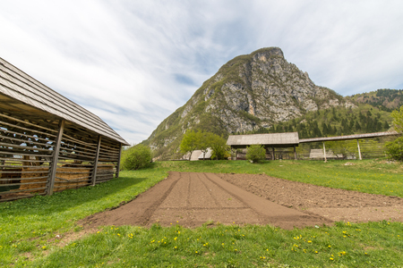 Traditional wooden double hayrack in small village of Studor near Bohinj in Slovenia during spring time