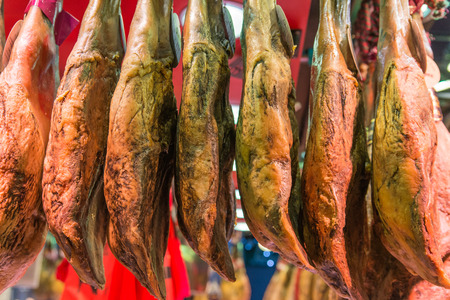 air dried: Dry ham hanging in outdoor market
