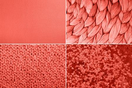 Collage geïnspireerd op kleur van het jaar Living Coral. Verschillende texturen.