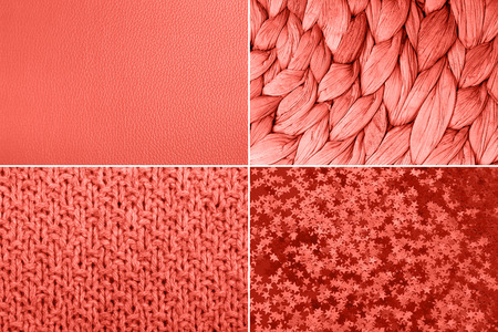 Collage inspired by color of the year Living Coral. Different textures.
