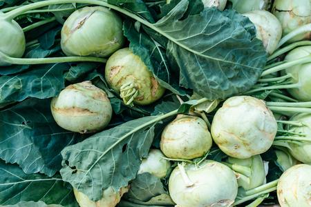 Fresh kohlrabi at farmers market. Top view. Stock Photo
