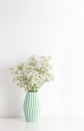 White gypsophila babys-breath flower in light green ceramic vase on white wall
