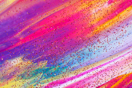 Abstract colorful painted background with sparkling confetti. Фото со стока