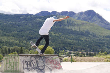 Skateboarding in BC Landscape photo
