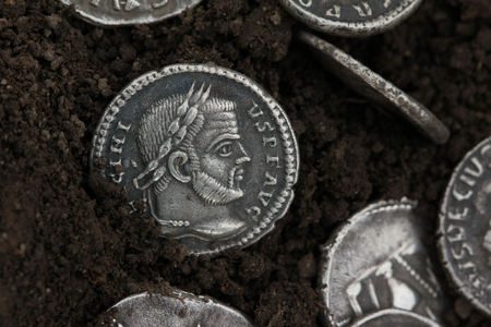 roman denarius, silver currency 写真素材