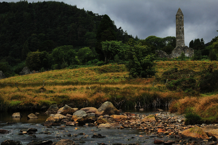 Irish monastery Glendalough Stock fotó
