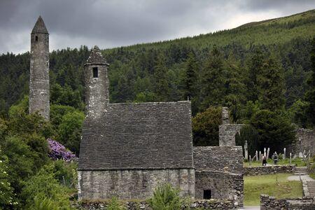 monastic: Irish monastery Glendalough Stock Photo