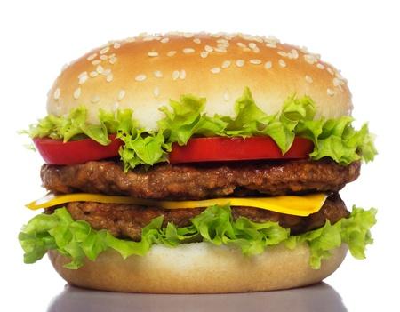 흰색에 고립 된 큰 햄버거
