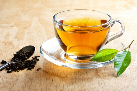 green and gold: tea Stock Photo
