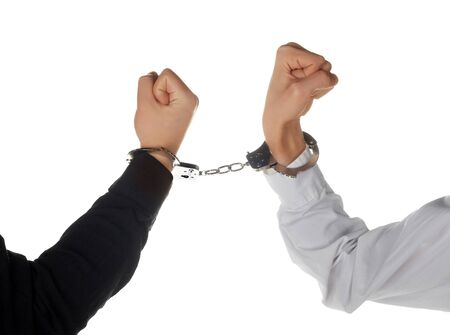 restraints: Man hands with handcuffs Stock Photo