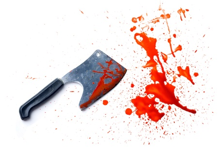 bloodstains: isolated grunge knife with a splatter of red blood stains Stock Photo