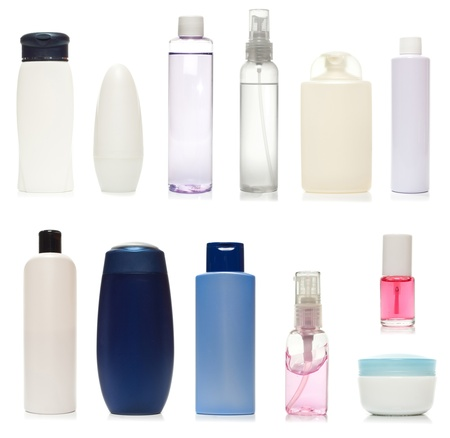 toiletries: Set of plastic bottles of body care and beauty products